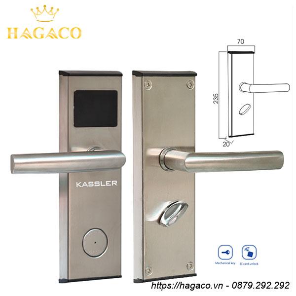 Khóa cửa điện tử Kassler KL-383I được làm từ hợp kim nhôm, kẽm cao cấp