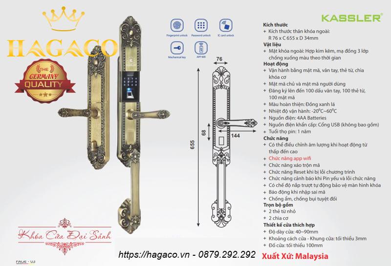Khóa vân tay Kassler KL-979GR được sản xuất tại Malaysia