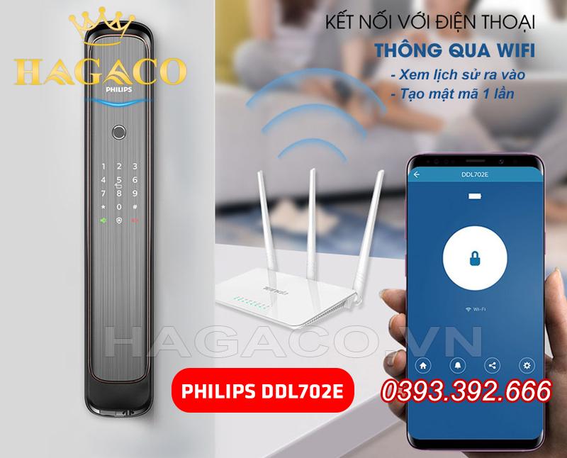 Khóa Philips DDL702E có thể kết nối với Wifi
