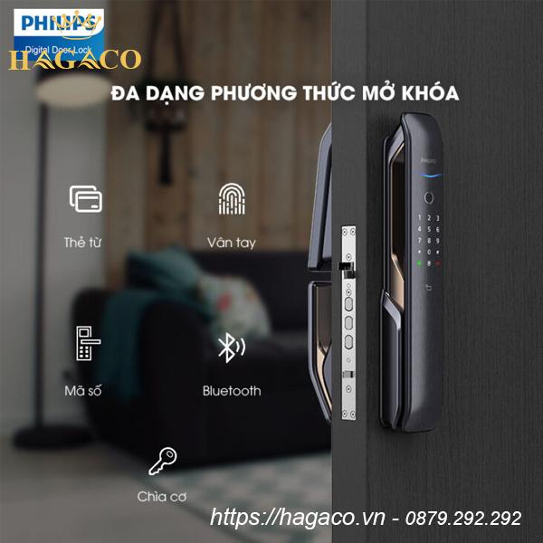 Khóa cửa Philips 9200 có 5 phương thức mở khóa: dấu vân tay, thẻ từ, mật mã, Bluetooth, chìa cơ