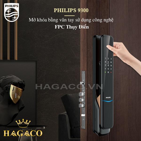 Khóa Philips 9300 mở khóa tnhanh chóng với công nghệ nhận diện vân tay FPC Thụy Điển
