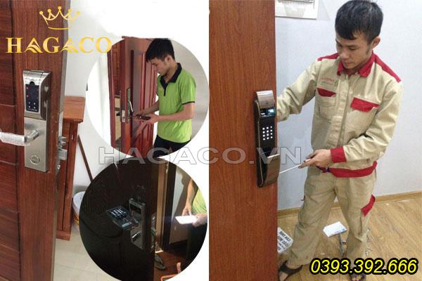 Lắp khóa vân tay cho cửa gỗ tại Hà Nội