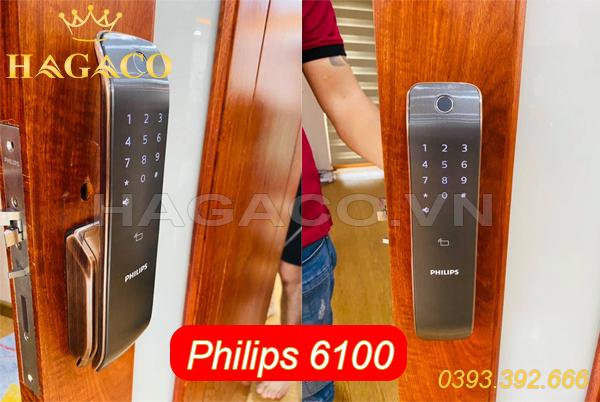 Khóa điện tử Philips 6100 lắp cho cửa gỗ