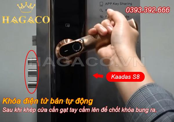 Cách khóa cửa với khóa điện tử tay cầm ngang bán tự động