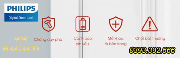 Các tính năng cảnh báo sự cố được trang bị trên khóa điện tử Philips