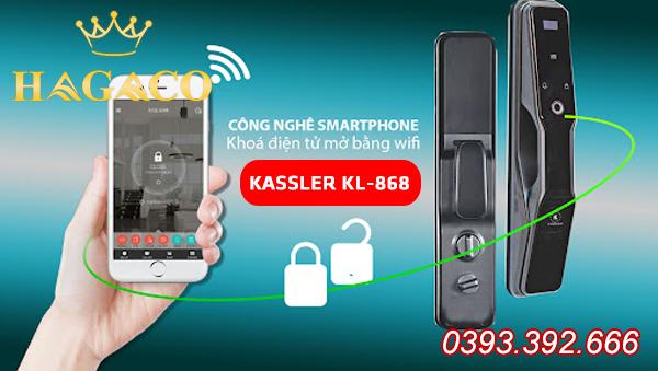 Khóa điện tử cao cấp Kassler KL-868 có kết nối wifi điều khiển khóa bằng điện thoại