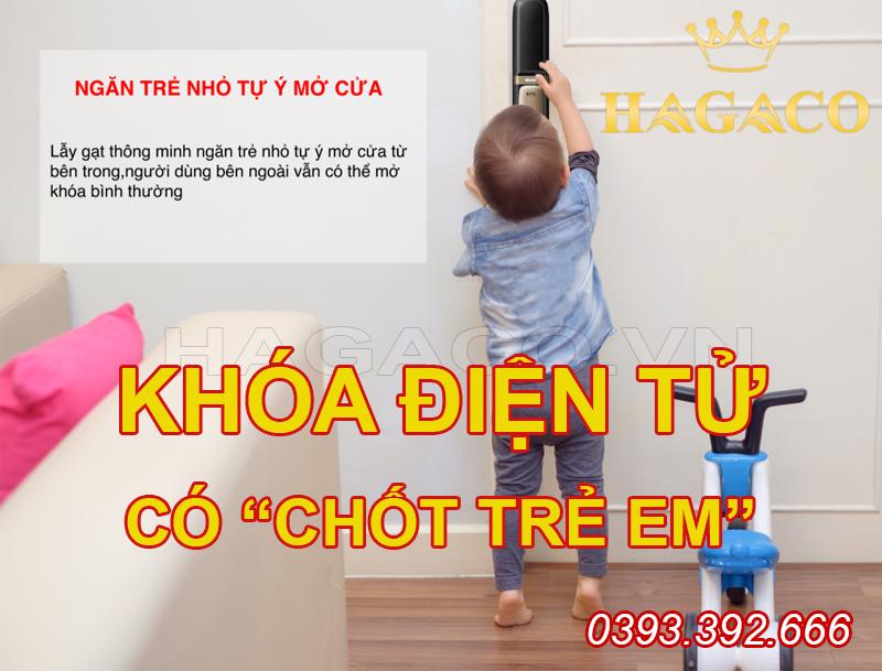 Khóa điện tử có chốt trẻ em an toàn