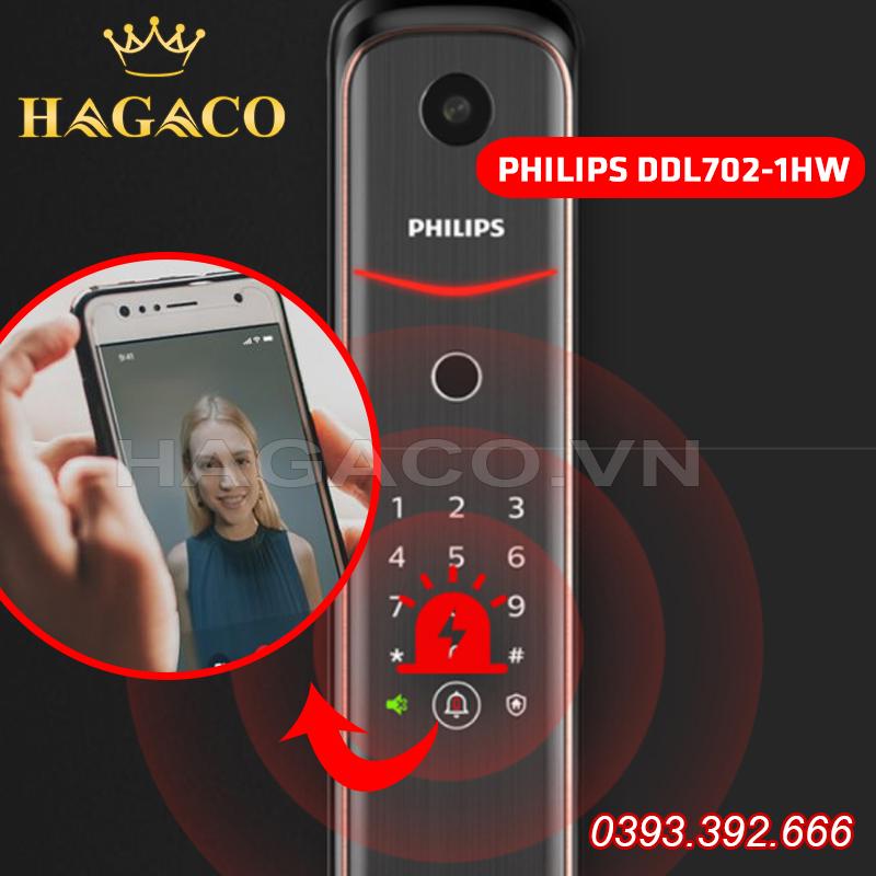 Khóa điện tử Philips DDL702-1HW có chuông cửa thông minh kết nối với điện thoại