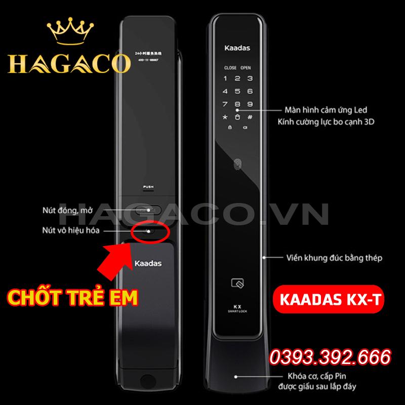 Khóa Kaadas KX-T có nút vô hiệu hóa mở cửa từ bên trong