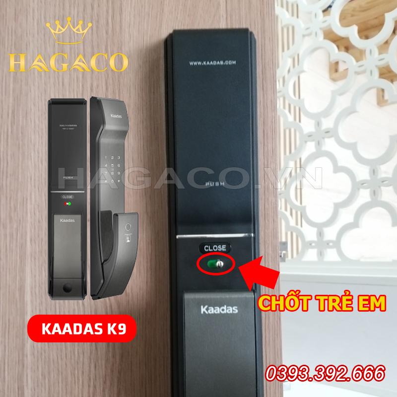 Khóa Kaadas K9 có chốt an toàn trẻ nhỏ