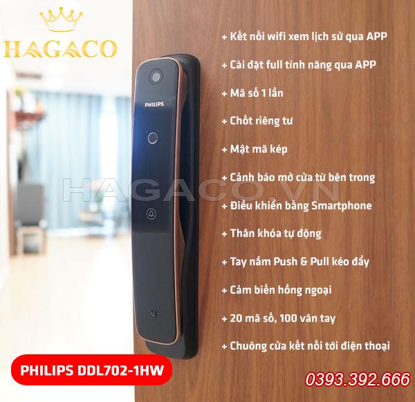 Khóa vân tay Philips DDL702-1HW