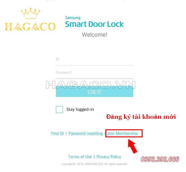 Đăng nhập hoặc đăng ký để sử dụng APP Samsung Smart Doorlock