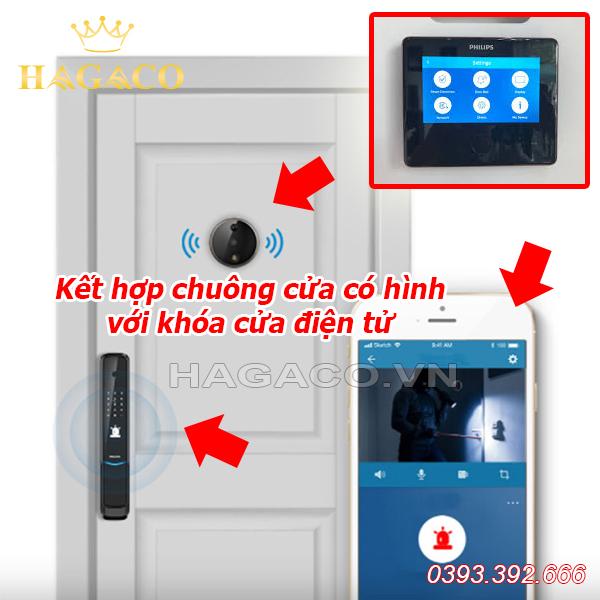 Kết hợp chuông cửa có hình với khóa cửa điện tử