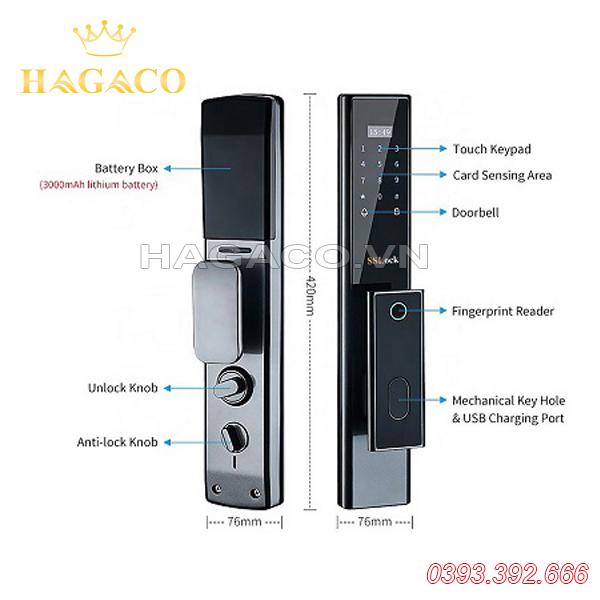 Khóa cửa vân tay khóa thông minh SSLock E102-FACP (có wifi)