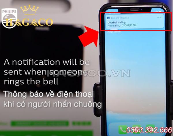Thông báo từ chuông hình thông minh gửi về điện thoại